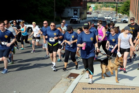 The start of the Clarksville Police Department's 1st annual 5k Run/Walk for C.O.P.S.