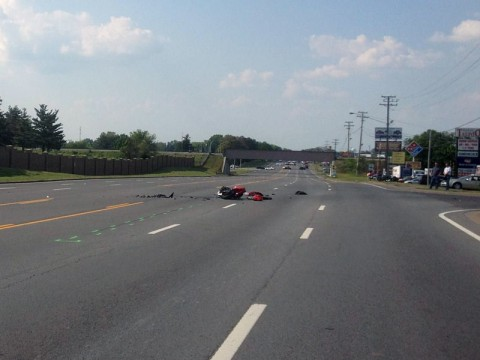Motorcycle and Vehicle collison on Fort Campbell Boulevard kills one. (Sgt. Johnny Ransdell)
