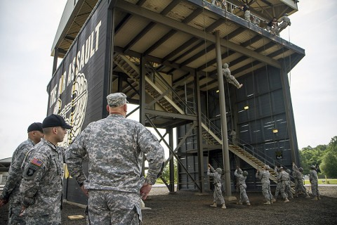 Gen. Raymond T. Odierno, the Army chief of staff, watches Soldiers rappel at The Sabalauski Air Assault School, Fort Campbell, Ky., May 15, 2015. Odierno's visit included speaking with senior Fort Campbell officials and observing unit training. (Staff Sgt. Terrance D. Rhodes, 101st Airborne Division (Air Assault) Public Affairs)