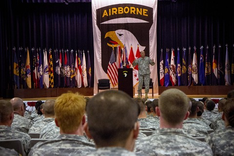 Gen. Raymond T. Odierno, the Army chief of staff, speaks to Soldiers during a town hall meeting at Wilson Theater, Fort Campbell, Ky., May 15, 2015. During his two-day visit, Odierno emphasized the importance of the Army's vision of Force 2025 and beyond. (Staff Sgt. Terrance D. Rhodes, 101st Airborne Division (Air Assault) Public Affairs)