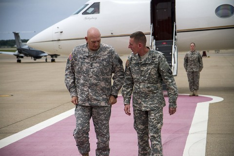 Gen. Raymond T. Odierno, the Army chief of staff, is greeted by Maj. Gen. Gary J. Volesky, the commanding general of the 101st Airborne Division (Air Assault) and Fort Campbell, at Campbell Army Airfield, Ky., May 14, 2015. During his two-day visit, Odierno emphasized the importance of the Army's vision of Force 2025 and beyond. (Staff Sgt. Terrance D. Rhodes, 101st Airborne Division (Air Assault) Public Affairs)