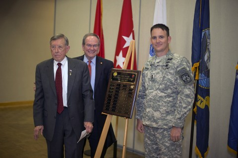 Cadet Kevin Doss is awarded the 2015 CSM Darol Walker Award at a breakfast on Thursday, April 30, 2015, at Austin Peay State University. (Beth Liggett, APSU)