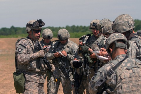 Sgt. David Esquivel, a motor transport operator with the 541st Transportation Company, 129th Combat Sustainment Support Battalion, 101st Sustainment Brigade, 101st Airborne Division, gives Soldiers a convoy brief May 12th, 2015, at Fort Campbell, KY. As an assistant convoy commander, he ensured the safety and accountability of his Soldiers during a five-day field training exercise. (Sgt. Leejay Lockhart, 101st Sustainment Brigade, 101st Airborne Division (Air Assault) Public Affairs)