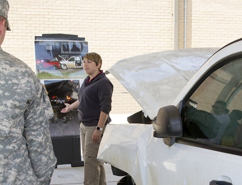 Officer Melissa Spielhagen, with the Clarksville Police Department fatal crash investigations, trains Soldiers from the 716th Military Police Battalion on alcohol safety May 1, 2015, at Fort Campbell, Ky. She used a real-life example of a fatal crash that involved alcohol to demonstrate the importance of not driving after drinking. (Sgt. Leejay Lockhart, 101st Sustainment Brigade, 101st Airborne Division (Air Assault) Public Affairs)