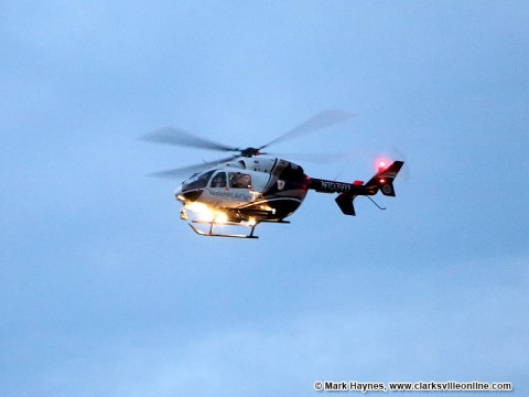 Life-Flight helicopter taking victim to Nashville.