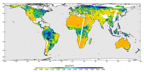 High-resolution global soil moisture map from SMAP's combined radar and radiometer instruments, acquired between May 4 and May 11, 2015 during SMAP's commissioning phase. The map has a resolution of 5.6 miles (9 kilometers). The data gap is due to turning the instruments on and off during testing. (NASA/JPL-Caltech/GSFC)