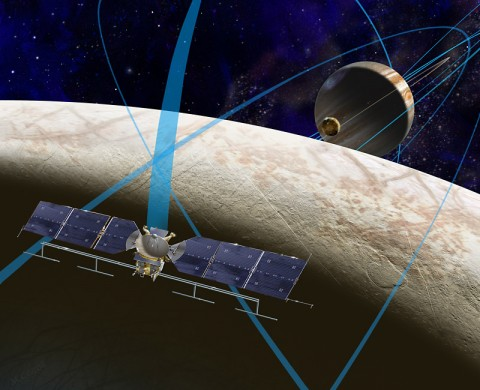 This artist's rendering shows a concept for a future NASA mission to Europa in which a spacecraft would make multiple close flybys of the icy Jovian moon, thought to contain a global subsurface ocean. (NASA/JPL-Caltech)