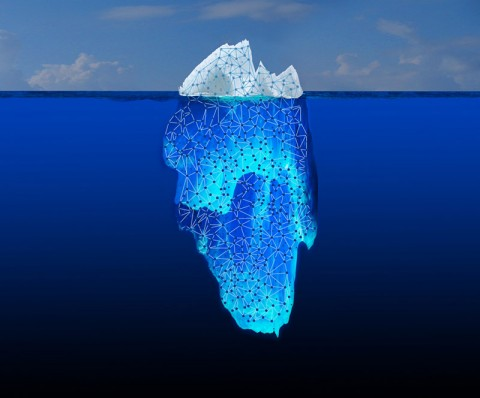 "What you see when you do a basic Web search is only the tip of the iceberg. Most of the information is buried in the ""Deep Web."" JPL is collaborating on a DARPA initiative called Memex, which explores the connections between bits of information hidden in this vast ocean of content. (NASA/JPL-Caltech)"