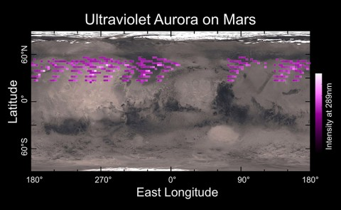 A map of MAVEN's Imaging Ultraviolet Spectrograph (IUVS) auroral detections in December 2014 overlaid on Mars' surface. The map shows that the aurora was widespread in the northern hemisphere, not tied to any geographic location. The aurora was detected in all observations during a 5-day period. (University of Colorado)