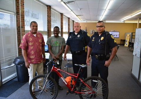 Jaquez Willis receives a new bicycle at the New Providence Community Policing Center