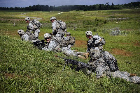 Strike soldiers from Company C, 2nd Battalion, 502nd Infantry Regiment, 2nd Brigade Combat Team, 101st Airborne Division conduct combined arms live-fire exercises, Fort Campbell, Ky., June 3, 2015. (Sgt. Joshua Dwyer, 2nd Brigade Combat Team, 101st Airborne Division (AA) Public Affairs)