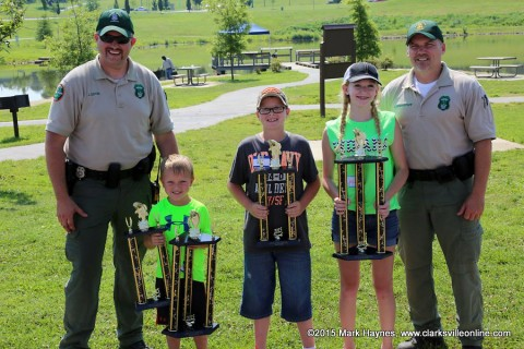 The winners of this year's Youth Fishing Rodeo. (L to R) TWRA officer Jereme Odom, Wyatt Wooten, Ethan Duffie, Cailin Robinson and TWRA officer Dale Grandstaff.
