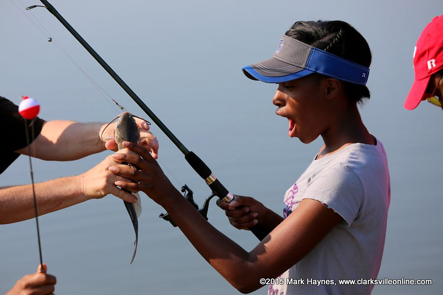 This young lady caught her first fish ever at saturday s youth fishing