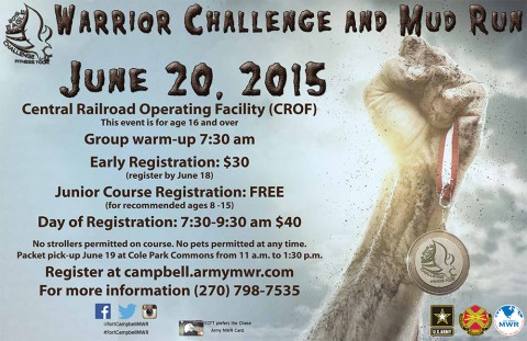 Fort Campbell Eagle Challenge Fitness Tour Warrior Challenge and Mud Run to be held June 20th, 2015