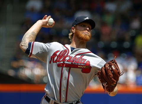 Atlanta Braves starting pitcher Mike Foltynewicz (48) delivers a pitch in the first inning against the New York Mets at Citi Field. (Noah K. Murray-  USA TODAY Sports)