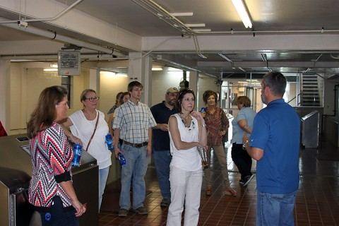 Water Treatment Manager Phil Whittinghill explains the process of treating the water from the Cumberland River.