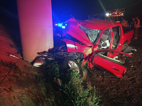 A red pickup truck collided with the concrete part of the overpass on Interstate 24 early Sunday morning. (CPD)