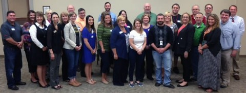 Attendees for the Certification refresher class pictured from left to right: Barry Batson, Budweiser of Clarksville; Tammie Matthews, Campbell Crossing, Lend and Lease; Kathy Jones, Campbell Crossing, Lend and Lease; Melinda Shepherd, Clarksville Area Chamber of Commerce; Shea Bradford, Stone, Rudolph & Henry, PLC; Judy Gebers, Frontier Basement Systems; Steve Springer, Stone, Rudolph & Henry, PLC; Annie Herlocker, Montgomery County Public Library; Jeff Battles, Jostens: Lacey Groves, Clarksville Area Chamber of Commerce; Kathryn Norbeck, Clarksville Restore; Rachel  Friend, Trane; John Jackson, Clarksville Department of Electricity; Kim Doll, Red Knight Distribution; Sherrie Mun, Legends Bank; Rachel Zalewski, Red Knight Distribution; Diana Griffin, Mainstream Heating & Cooling; Mike Daly, Agero;  Jarrod Wiliams, Jostens; Debbie Payne, Screaming Eagle Ready Mix; Chip Ballard, Agero; Patti Sinclair, Moore Magnet School; Al Kertis, Jostens; Doug Wilson, Jostens; Chad Crocker, Nyrstar; Erin Bonner, Jostens; Donald Haynes, Florim, USA and Joey Smith, Montgomery County Health Department.