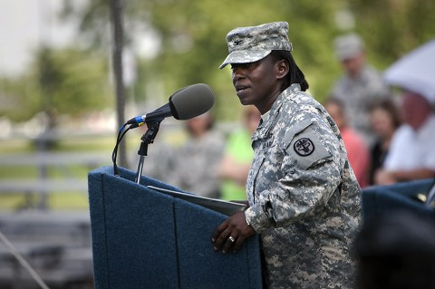 After assuming command of Blanchfield Army Community Hospital Monday, Col. Telita Crosland tells the Fort Campbell community she is humbled by the opportunity and looks forward to building upon Blanchfield's successes. (U.S. Army photo by David E. Gillespie)