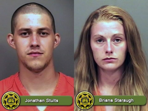 Jonathan Stults and Briana Staraugh have been arrested theft of service.