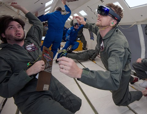 NASA and Microsoft engineers test Project Sidekick on NASA's Weightless Wonder C9 jet. Project Sidekick will use Microsoft HoloLens to provide virtual aid to astronauts working on the International Space Station. (NASA)