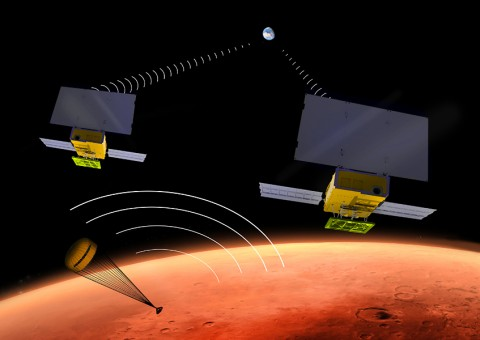 NASA's two small MarCO CubeSats will be flying past Mars in 2016 just as NASA's next Mars lander, InSight, is descending through the Martian atmosphere and landing on the surface. MarCO, for Mars Cube One, will provide an experimental communications relay to inform Earth quickly about the landing. (NASA/JPL-Caltech)