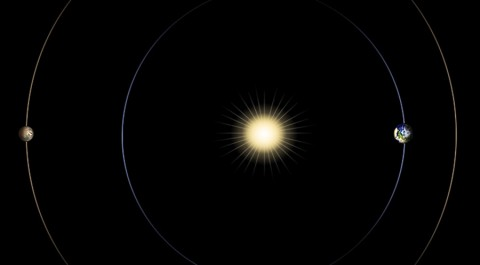 This diagram illustrates the positions of Mars, Earth and the sun during a period that occurs approximately every 26 months, when Mars passes almost directly behind the sun from Earth's perspective. (NASA/JPL-Caltech)