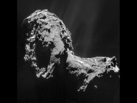 This composite is a mosaic comprising four individual NAVCAM images taken from 19 miles (31 kilometers) from the center of comet 67P/Churyumov-Gerasimenko on Nov. 20, 2014. (ESA/Rosetta/NAVCAM)