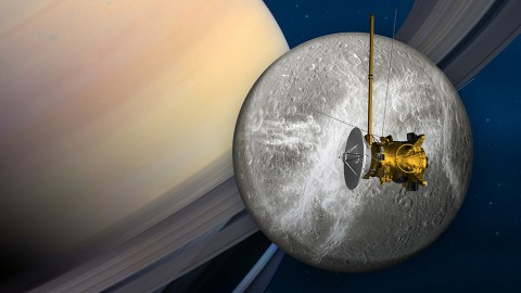 Cassini's penultimate encounter with Saturn's moon Dione is slated for June 16th. (NASA/JPL-Caltech)