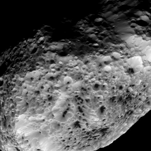 NASA's Cassini imaging scientists processed this view of Saturn's moon Hyperion, taken during a close flyby on May 31st, 2015. (NASA/JPL-Caltech/Space Science Institute)