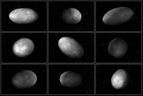 """This set of computer modeling illustrations of Pluto's moon Nix shows how the orientation of the moon changes unpredictably as it orbits the """"double planet"""" Pluto-Charon. (NASA/ESA/M. Showalter (SETI)/G. Bacon (STScI))"""