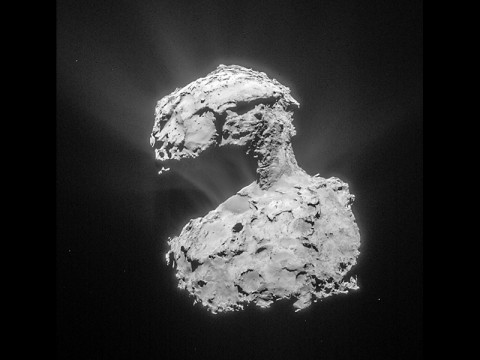 This image, by the Rosetta navigation camera, was taken from a distance of about 53 miles (86 kilometers) from the center of Comet 67P/Churyumov-Gerasimenko on March 14th, 2015. The image has a resolution of 24 feet (7 meters) per pixel and is cropped and processed to bring out the details of the comet's activity. (ESA/Rosetta/NAVCAM)
