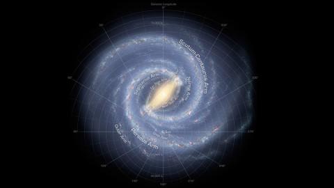 The Milky Way Galaxy. (annotated).  (NASA/JPL-Caltech/R. Hurt (SSC/Caltech))