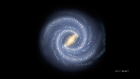 This artist's concept depicts the most up-to-date information about the shape of our own Milky Way galaxy. We live around a star, our sun, located about two-thirds of the way out from the center. (NASA/JPL-Caltech/R. Hurt (SSC/Caltech))