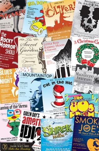 Roxy Regional Theatre's 33rd Season posters.