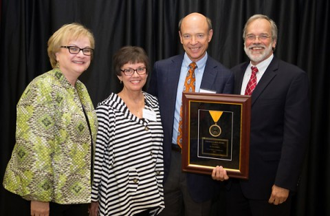 Austin Peay President Alisa White, Sandy Jenkins, Don Jenkins and TBR Chancellor John Morgan celebrate Don Jenkins receiving the 2015 Chancellor's Award for Excellence in Philanthropy. (Beth Liggett/APSU)