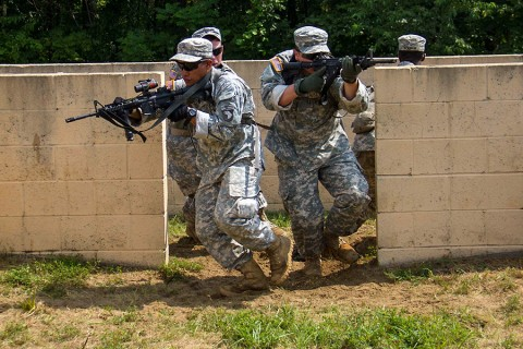 Soldiers from 1st Platoon, Company A, 1st Battalion, 26th Infantry Regiment, 2nd Brigade Combat Team, 101st Airborne Division (Air Assault), rehearse room clearing procedures and tactics, learning how to communicate together at Fort Campbell, KY, July 27, 2015. Room clearing procedures fall under urban operations. (Staff Sgt. Terrance D. Rhodes, 2nd Brigade Combat Team, 101st Airborne Division (Air Assault) Public Affairs)