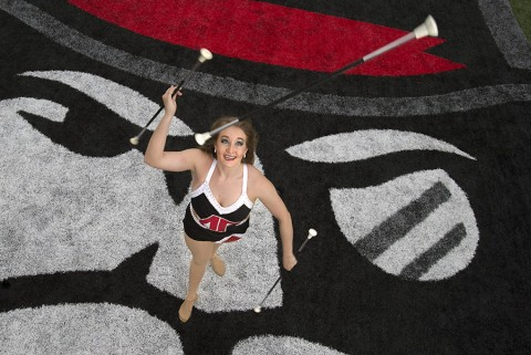 Hannah Johstono, the Governor's Own Marching Band's featured twirler, was named 2015 College Miss Majorette of Tennessee and will compete in a national competition this summer. (Beth Liggett, APSU)