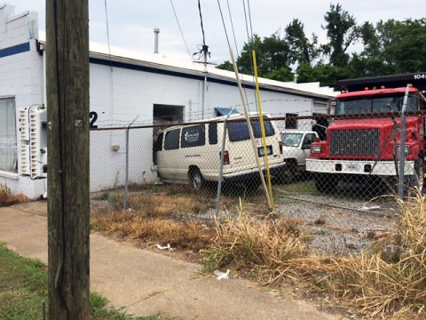 Clarksville Police respond to accident on College Street where a van runs into a building.