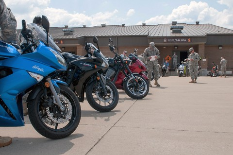 Soldiers with the 101st Sustainment Brigade, 101st Airborne Division, conduct inspections on their motorcycle during pre-riding check and training session to kick off the Motorcycle Safety Month on May 6, 2015. (Sgt. 1st Class Mary Rose Mittlesteadt, 101st Sustainment Brigade, 101st Airborne Division Public (Air Assault) Affairs)
