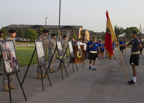 Lt. Col. Alexander Gallegos, commander of the 101st Special Troops Battalion, 101st Sustainment Brigade, 101st Airborne Division, speaks to his battalion and Gold Star and surviving families and friends after the Fourth Annual Gamberi and Gold Star Family Memorial Run at Fort Campbell, Ky., July 10. (Sgt. 1st Class Mary Rose Mittlesteadt, 101st Sustainment Brigade, 101st Airborne Division (Air Assault) Public Affairs)