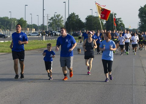Gold Star and surviving families and friends led the Fourth Annual Gamberi and Gold Star Family Memorial Run at Fort Campbell, Ky., July 10. The run is hosted by the 101st Special Troops Battalion, 101st Sustainment Brigade, 101st Airborne Division (Air Assault), to commemorate five 101st STB Soldiers who were killed during an insider attack at Forward Operating Base Gamberi, Laghman Province, Afghanistan, on April 16, 2011. (Sgt. 1st Class Mary Rose Mittlesteadt, 101st Sustainment Brigade, 101st Airborne Division (Air Assault) Public Affairs)