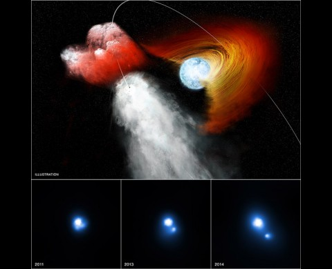 This trio of images contains evidence from NASA's Chandra X-ray Observatory that a clump of stellar material has been jettisoned away from a double star system at incredibly high speeds. This system, known as PSR B1259-63/LS 2883 – or B1259 for short – is comprised of two objects in orbit around one another. The first is a star about 30 times as massive as the Sun that has a disk of material swirling around it. The other is a pulsar, an ultra-dense neutron star left behind when an even more massive star underwent a supernova explosion. (NASA/CXC/PSU/G.Pavlov et al)