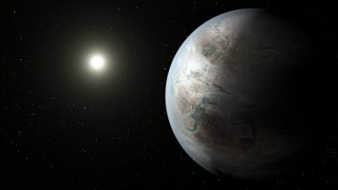 This artist's concept depicts one possible appearance of the planet Kepler-452b, the first near-Earth-size world to be found in the habitable zone of star that is similar to our sun. ( NASA Ames/JPL-Caltech)