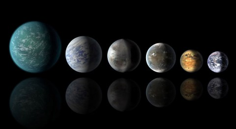 A newly discovered exoplanet, Kepler-452b, comes the closest of any found so far to matching our Earth-sun system. A newly discovered exoplanet, Kepler-452b: from left, Kepler-22b, Kepler-69c, the just announced Kepler-452b, Kepler-62f and Kepler-186f. Last in line is Earth itself. (NASA/Ames/JPL-Caltech)