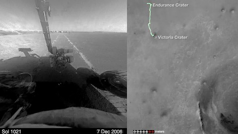Road trip! This compilation of images from hazard-avoidance cameras on NASA's Mars Exploration Rover Opportunity between January 2004 and April 2015 shows the rover's-eye-view of the Martian marathon covering 26.2 miles(42.2 kilometers) from its landing location. A map of the rover's path is on the right. (NASA)