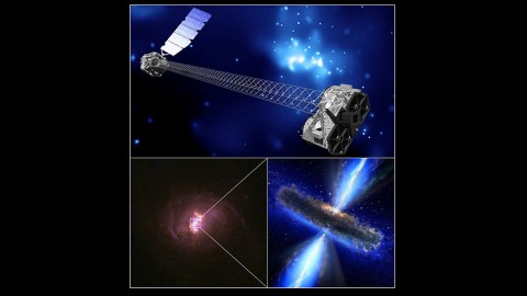 A montage of images showing an artist's concept of NuSTAR (top); a color image of one of the galaxies targeted by NuSTAR (lower left); and artist's concept of a hidden black hole. (Top: NASA/JPL-Caltech. Lower-left: Hubble Legacy Archive, NASA, ESA. Bottom-right: NASA/ESA)