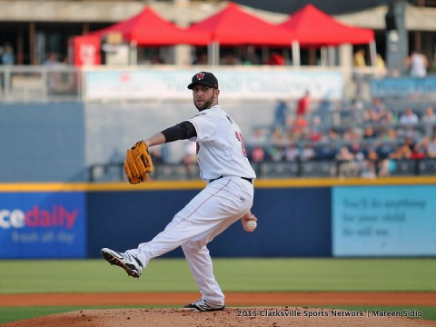 Nashville Sounds starting pitcher Cody Martin has six strike outs against Omaha Storm Chasers in six innings of play.