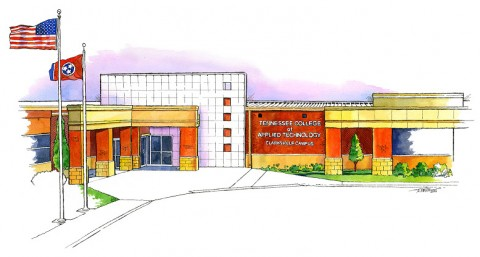 Local Clarksville artist Terry L. Smith donated this original watercolor rendering of the new Clarksville facility.