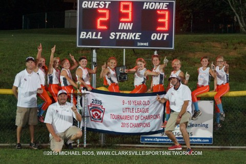 Tennessee Swag of Clarksville wins the 2015 Little League 9-10 year-old Tournament of State Champions Monday night at Merricourt Park.